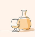 cognac bottle and glass isolated vector image vector image
