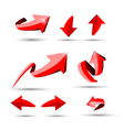 Collection of defference 3D red shine arrow eps10 vector image