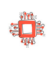computer cpu icon in comic style circuit board vector image vector image