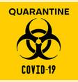 covid-19 biohazard warning poster vector image vector image