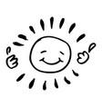 creative black and white happy sun vector image vector image