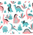 cute dinosaurs seamless pattern with baby vector image