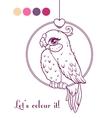 Cute girl bird contour vector image