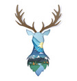 double exposure layered paper cut wild deer vector image vector image