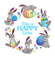 easter eggs bunnies and flowers frame vector image vector image