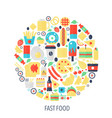 fast food flat infographics icons in circle vector image vector image