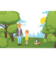 flat people family walking at city park with vector image