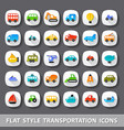 flat style transportation icons vector image vector image