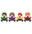 four children riding on four different cars vector image