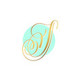 gold calligraphy letter on circle blue background vector image vector image