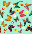 green seamless background butterfly and flower vector image vector image