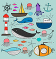 hand drawn sea doodles set vector image vector image