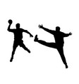 handball player and goalkeeper vector image vector image