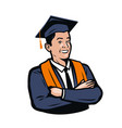 happy graduating student education school vector image vector image