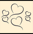 hearts in the form of lines vector image