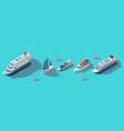 isometric ferries yachts boats passenger ships vector image vector image