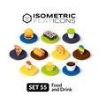Isometric flat icons set 55 vector image vector image