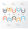 job flat icons set collection of envelope vector image vector image
