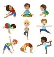 Little Boys Doing Yoga Set vector image