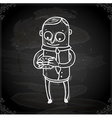 man with burger drawing on chalk board vector image