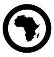 map of africa icon black color in circle round vector image vector image