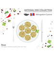 mongolian cuisine asian national dish collection vector image vector image