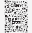 music party doodles vector image