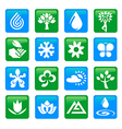 Nature and water icons buttons vector image vector image