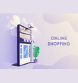 online shopping big smartphone turned into vector image vector image