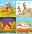 outdoor recreation compositions set vector image vector image