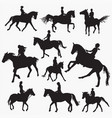 riding horse silhouettes vector image vector image
