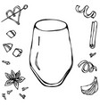 rocks glass coctail tumbler hand drawn vector image vector image