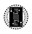 round shape of playing card queen character poker vector image