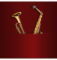 saxophone and trumpet in your pocket vector image vector image