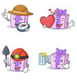 set of gift character with explorer heart miner vector image vector image