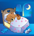 sleeping teddy bear in bedroom vector image vector image