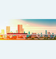 subway train over sunset in modern city panorama vector image vector image