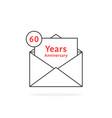 thin line 60 years anniversary logo like open vector image vector image