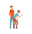 two young men scoffing at someone conflict vector image vector image