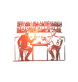 two young men sitting in bar drinking beer vector image vector image