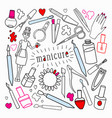 woman beauty cosmetics hand drawn set vector image vector image