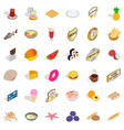 yummy dishes icons set isometric style vector image vector image