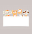 greeting card template with funny animals vector image
