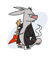 grumpy rabbit with a guitar and cigarette vector image