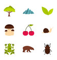 plant animal insect icons set flat style vector image