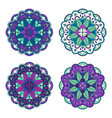 colorful floral mandala set vector image
