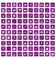 100 business strategy icons set grunge purple vector image vector image