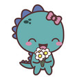 a dinosaur happy girl with flower good day vector image vector image