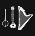 a set of musical instruments stylized harp black vector image vector image