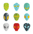 alien flat face set isolated on white background vector image vector image
